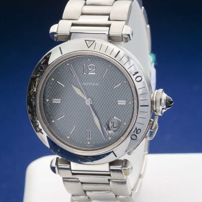 Cartier Pashà acciaio, automatico, data, anno 1996, revisionato, scatola e garanzia originali, un anno garanzia negozio, quadrante antracite. € 2500.