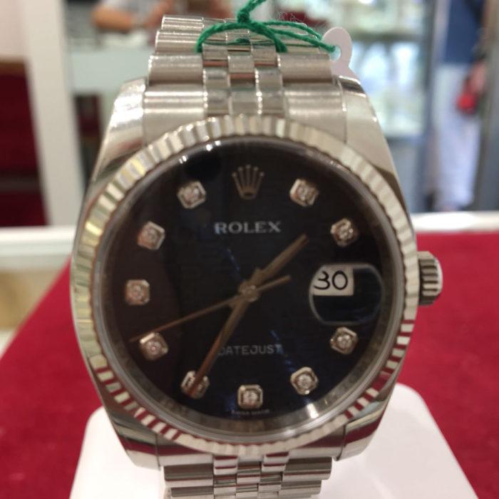 Rolex Date Just, acciaio e ghiera oro. Automatico, data, brillanti sugli indici, bracciale jubilee, scatola e garanzia, modello President, quadrante nero. Anno 2014. Oltre garanzia negozio 1 anno