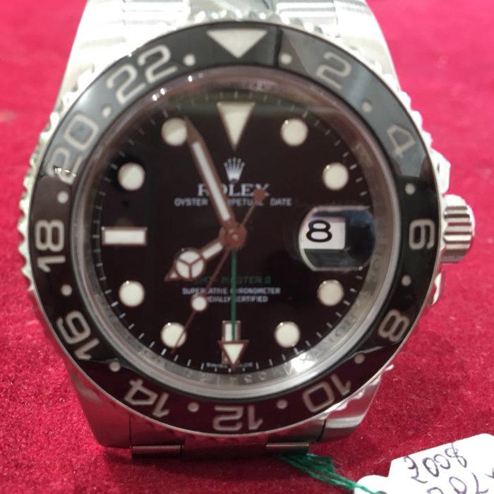 Rolex GMT Master I, ghiera nera , anno 2008, automatico, data, doppio fuso orario, acciaio, scatola, garanzia Rolex, un anno di garanzia del negozio, come nuovo