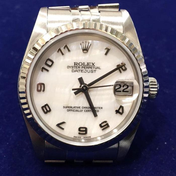 Rolex Date Just in acciaio con ghiera in oro bianco, anno 2003, automatico con data, quadrante bianco, molto bello, diametro mm31, scatola e garanzia originale più un anno di garanzia del negozio