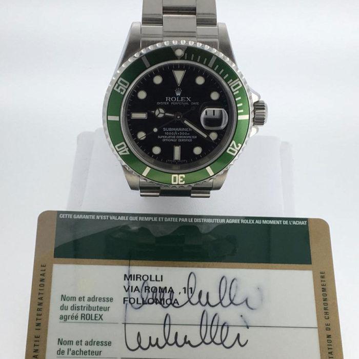 Rolex Submariner, acciaio, Ghiera Verde, anno 2008, scatola e garanzia originale, in più un anno di garanzia del negozio, perfetto, referenza 16610LV