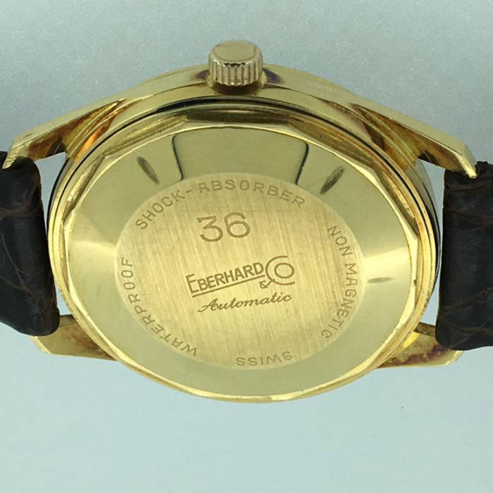 Eberhard Day Date, cassa oro KT18, molto pesante, automatico, molto raro, revisionato, un anno di garanzia del negozio.
