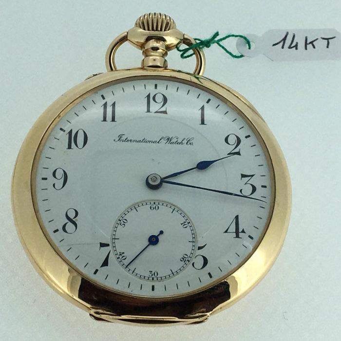 Orologio da tasca International Watch CO. anni '30, carica manuale, revisionato, cassa oro a kt 14, bellissimo, garanzia un anno del negozio.