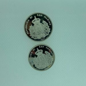 Monete commemorative in argento, fondo specchio della Repubblica Di San Marino.