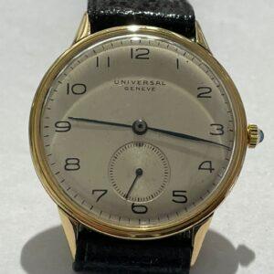 Universal Geneve, Cassa Oro KT 18, carica manuale, anni 40, diametro 35mm, revisionato, un anno di garanzia del negozio.
