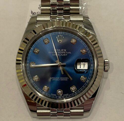 Rolex Datejust 41 mm, anno 2018, quadrante blu con brillanti, ghiera oro bianco, scatola e garanzia più un anno di garanzia del negozio.